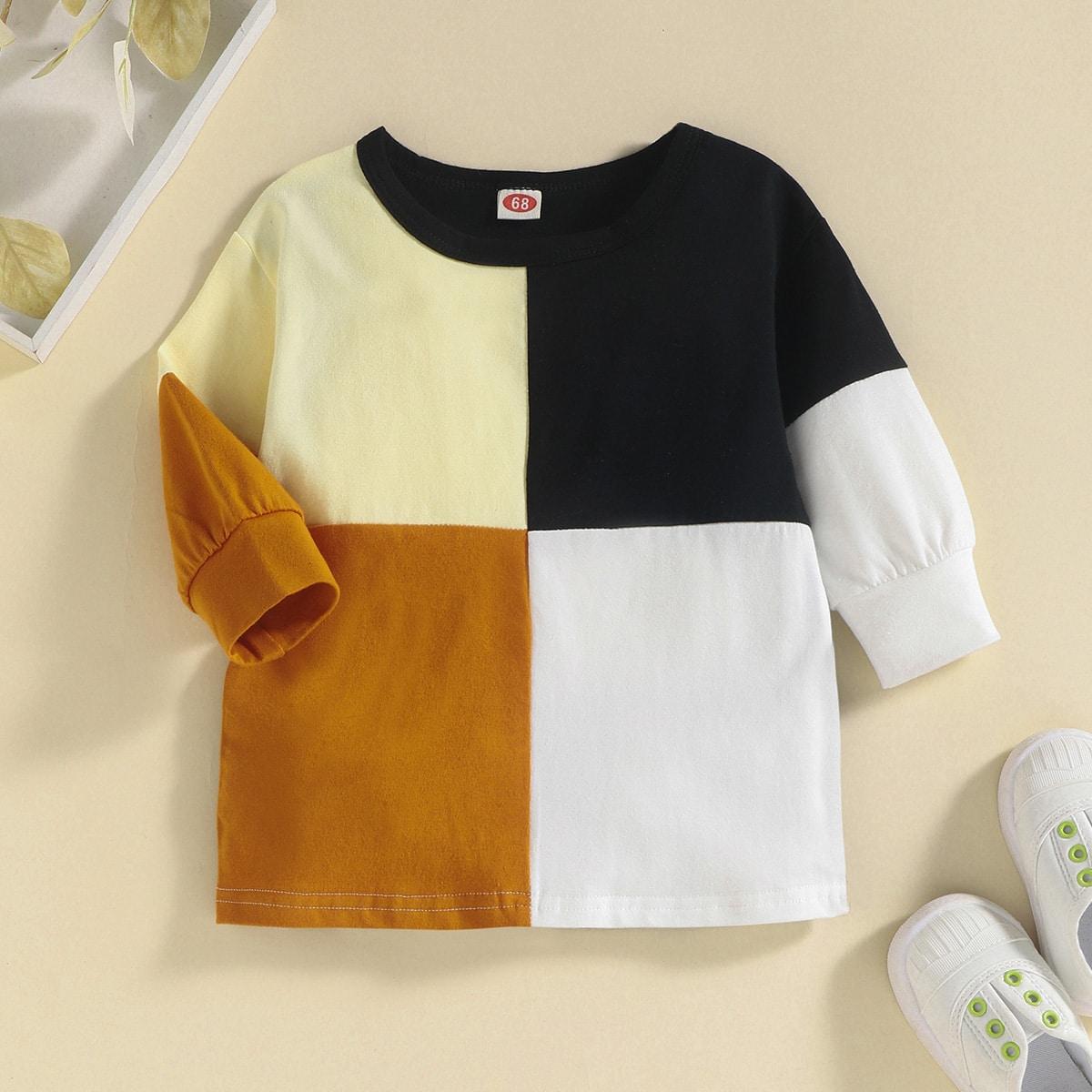 Детское контрастное платье-футболка от SHEIN
