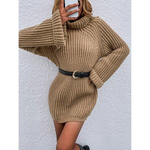 Turtle Neck Raglan Sleeve Sweater Dress Without Belt, Camel