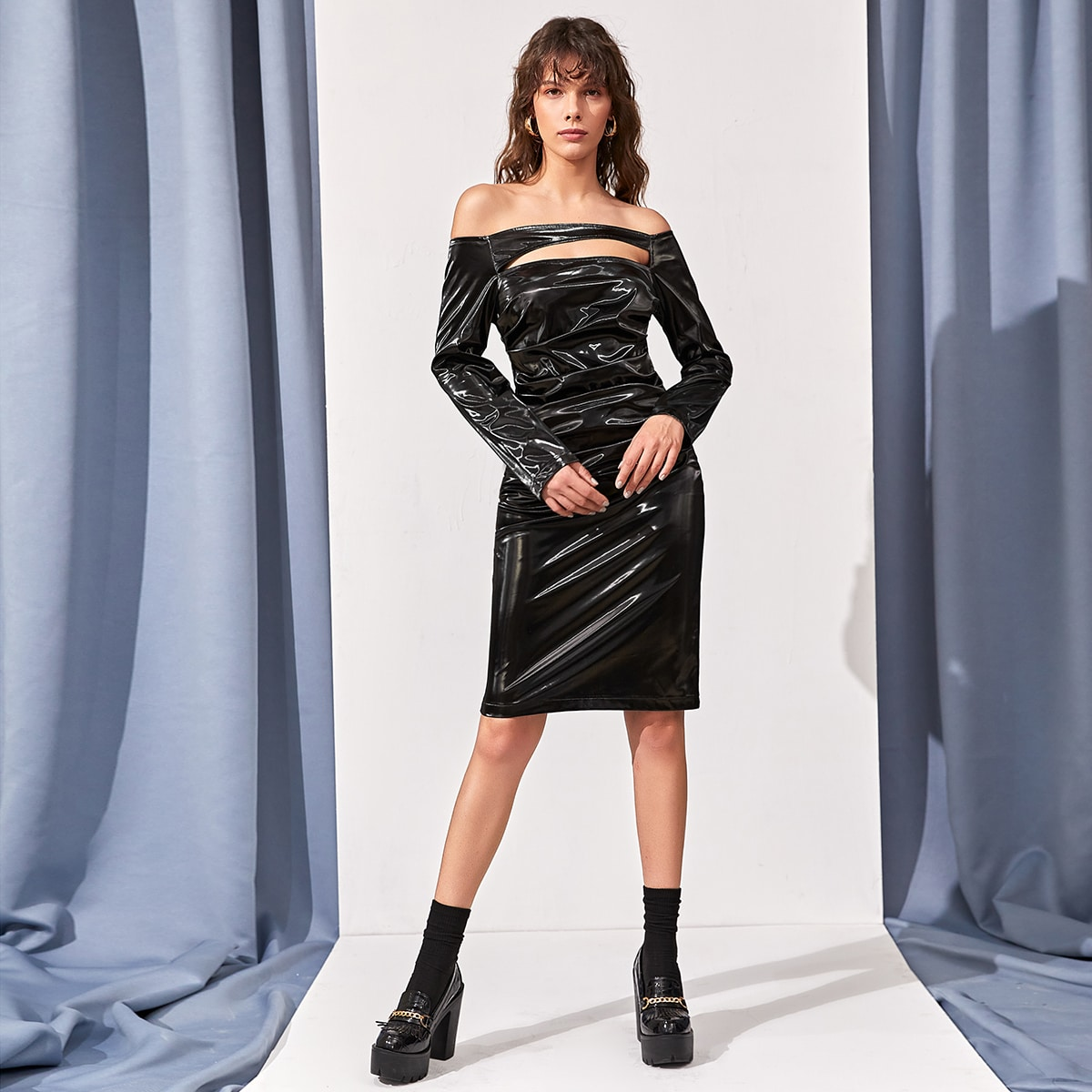 Off Shoulder Cut Out Ruched Front PU Leather Dress
