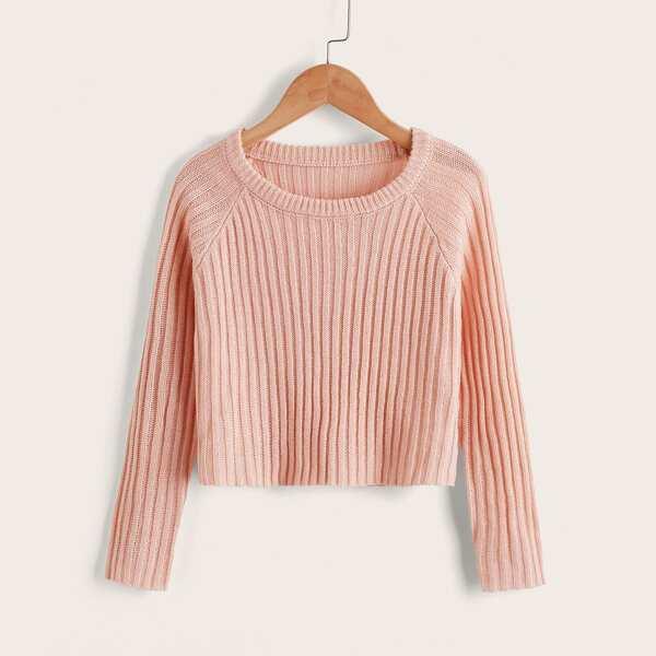 Girls Ribbed Knit Raglan Sleeve Sweater, Dusty pink