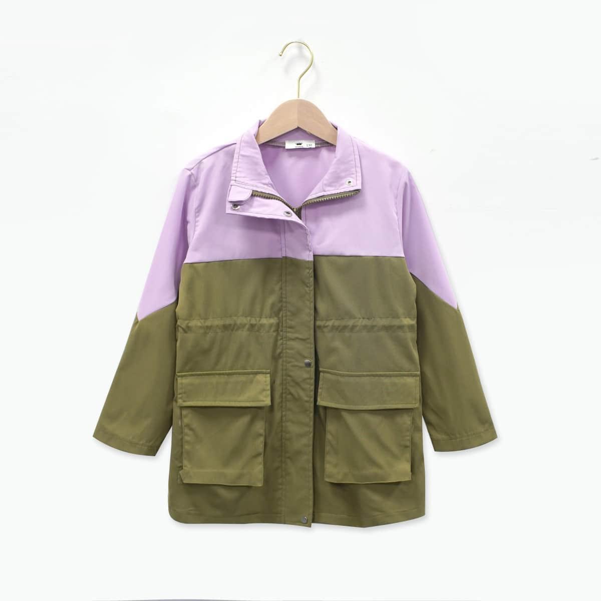 Girls Color Block Flap Pocket Coat