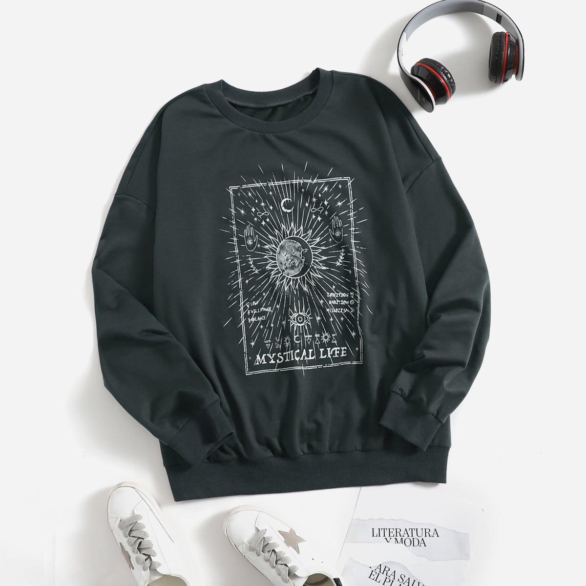 размера плюс Пуловер солнце & с текстовым принтом