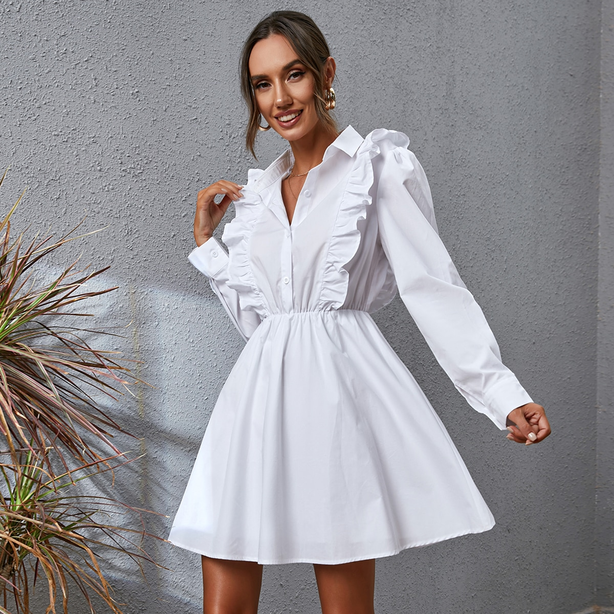Solid Ruffle Trim Shirt Dress