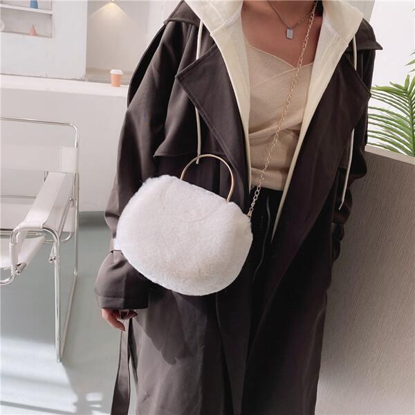 Minimalist Fluffy Chain Satchel Bag, White