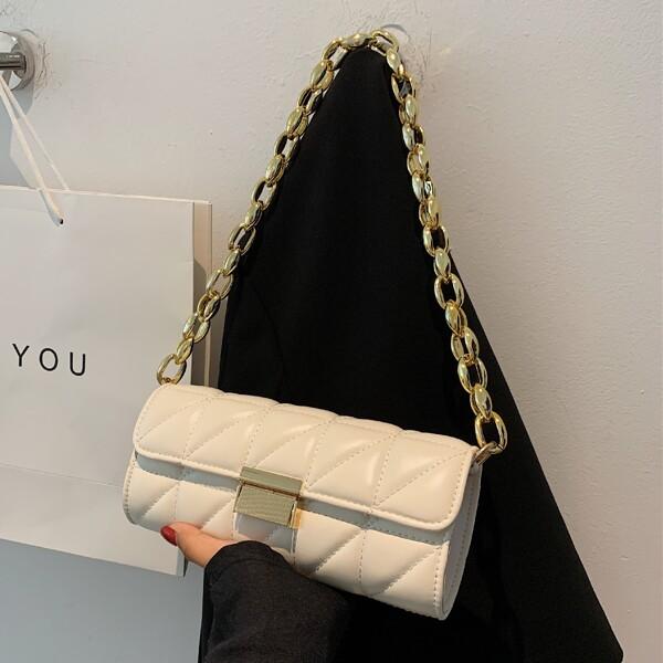 Minimalist Quilted Flap Baguette Bag, Beige