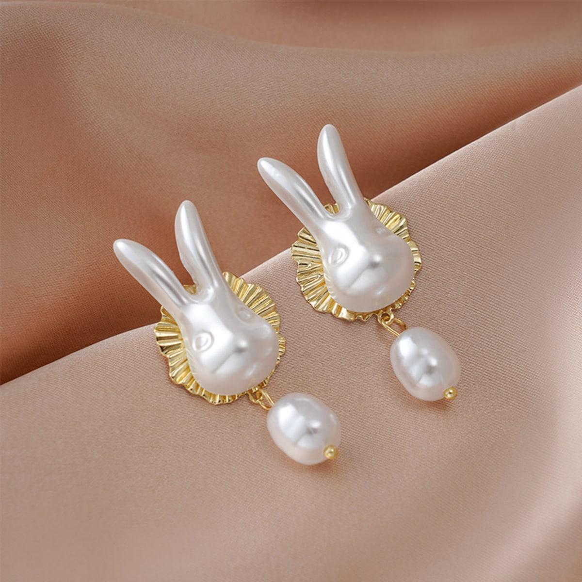 Faux Pearl Rabbit Drop Earrings, SHEIN  - buy with discount