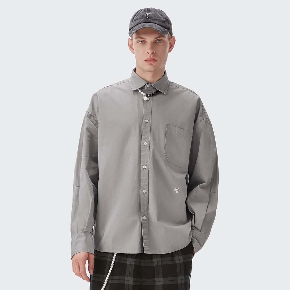 Мужской Рубашка с карманом узором вышивкой