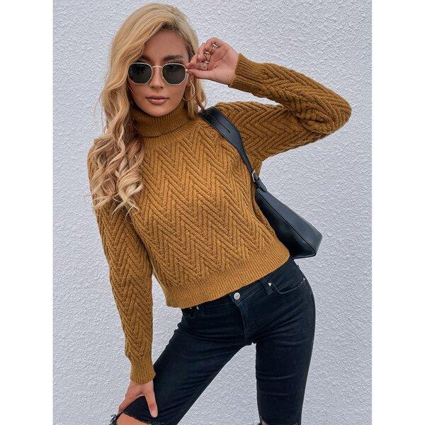 Turtle Neck Raglan Sleeve Sweater, Camel