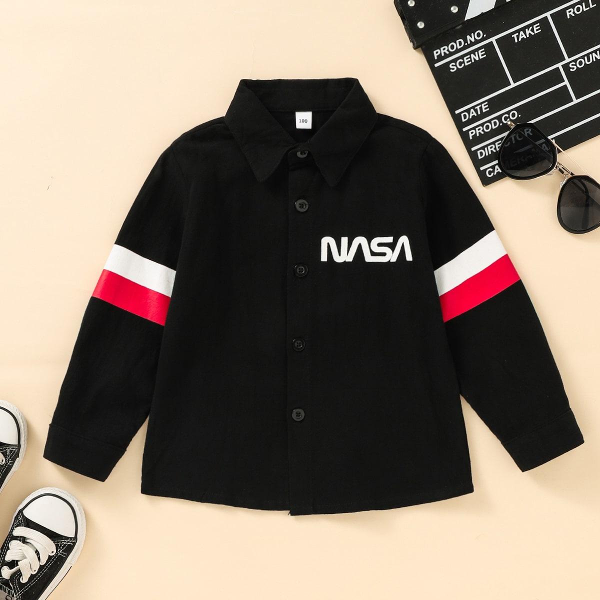 Контрастная рубашка с текстовым принтом для мальчиков