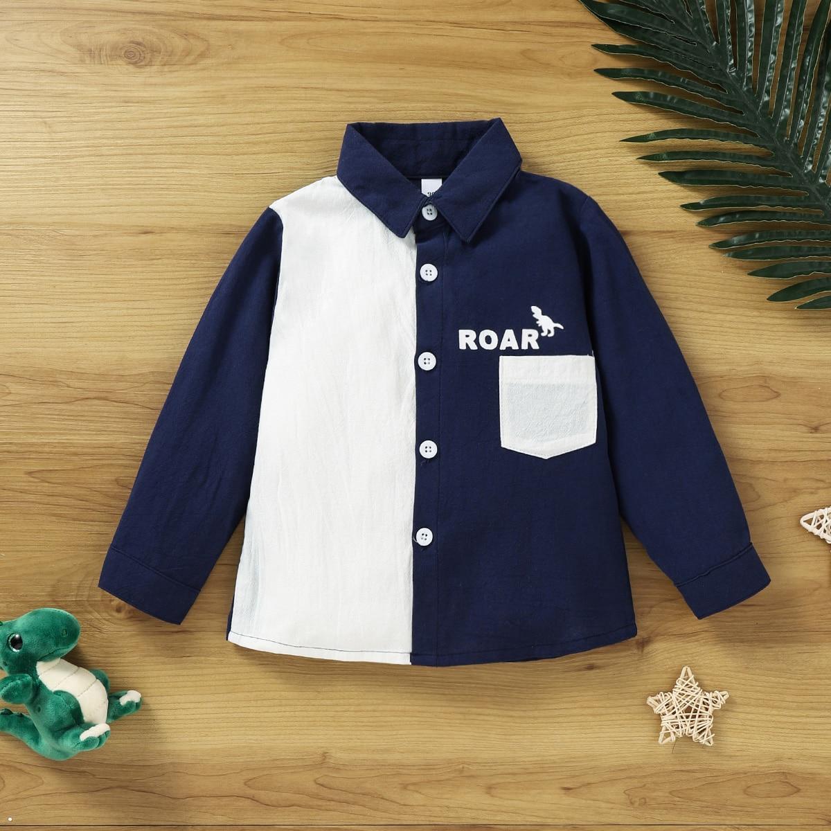 для мальчиков Рубашка буква и с принтом динозавра контрастный с карманом