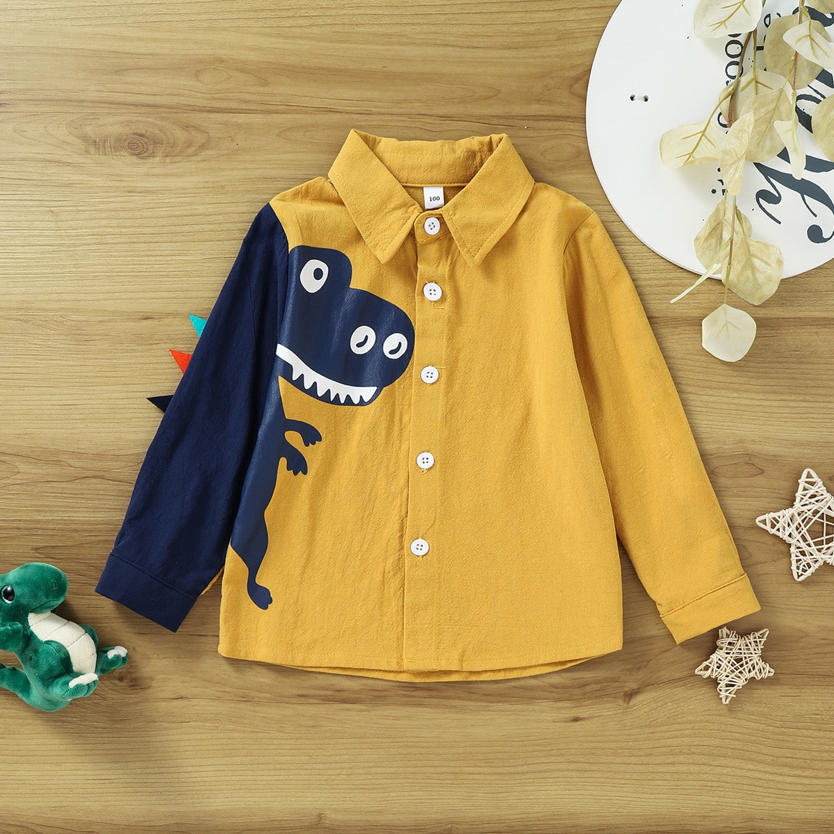 Рубашка в форме 3D заплатки с принтом динозавра для мальчиков