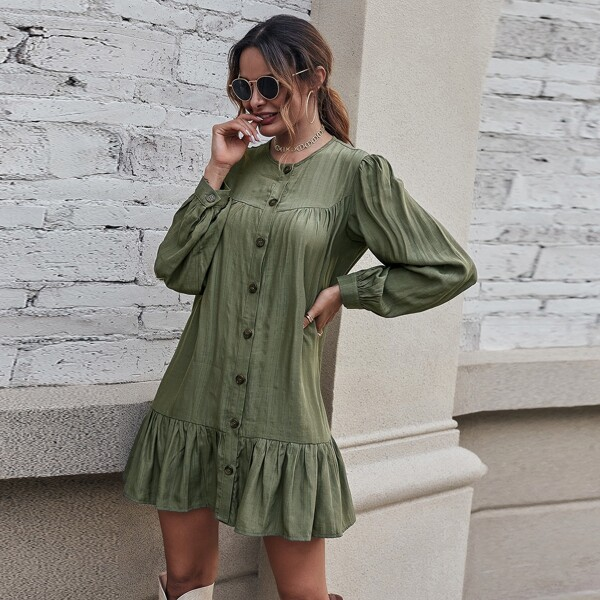 Ruffle Hem Button Through Dress, Army green