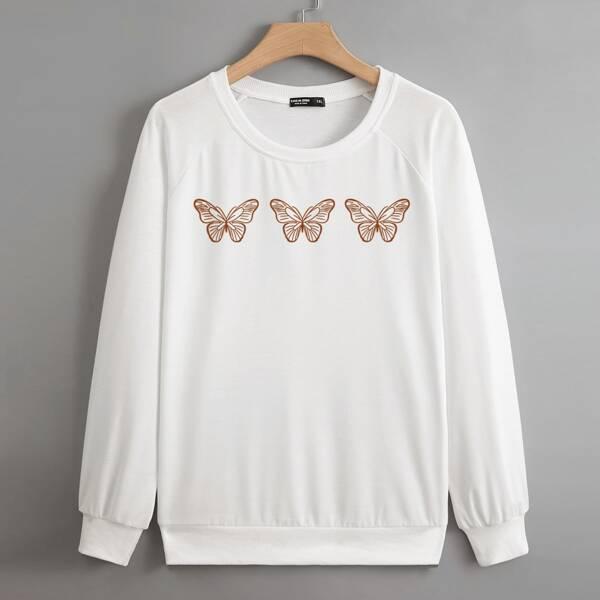 Plus Butterfly Print Raglan Sleeve Pullover, White