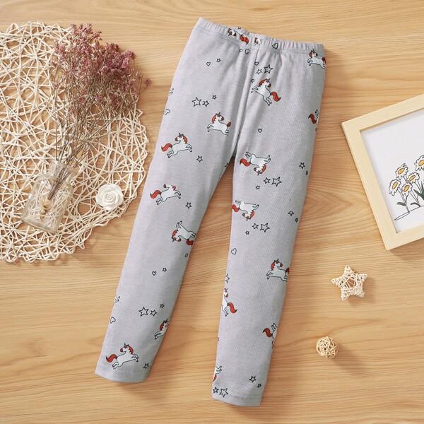 Toddler Girls Unicorn & Star Print Leggings, Light grey