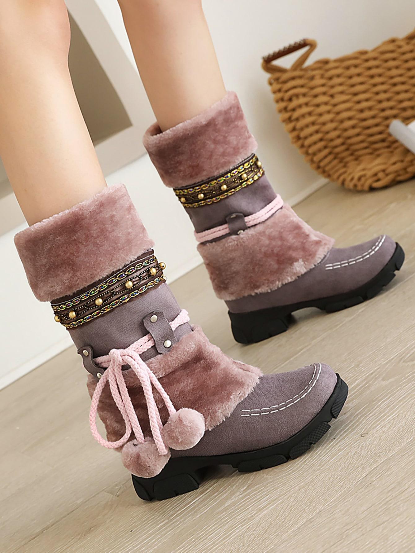 Suede Pom-Pom Decor Snow Boots