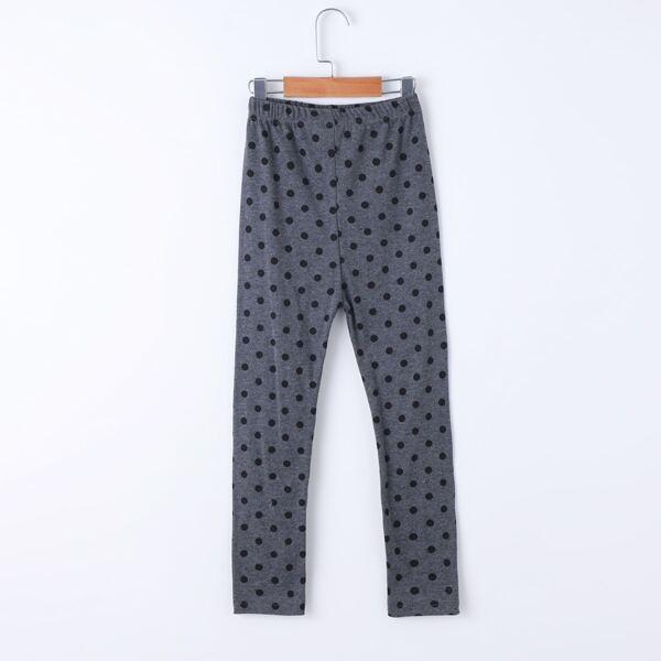 Girls Polka Dot Print Leggings, Dark grey