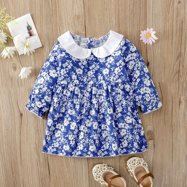 Baby Floral Print Flounce Sleeve Peter-pan Collar Dress, Blue and white