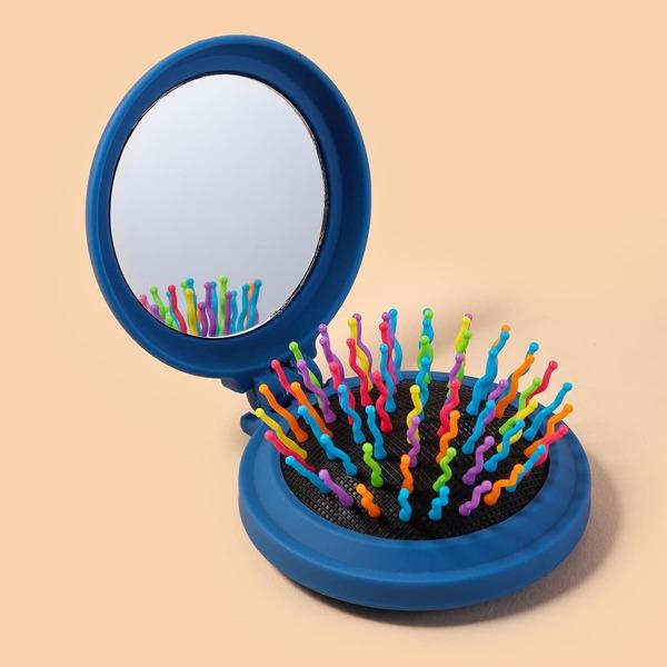2 In 1 Hair Brush & Mirror, Blue