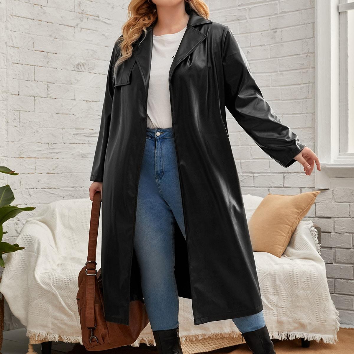 размера плюс Пальто из искусственной кожи с лацканами с поясом