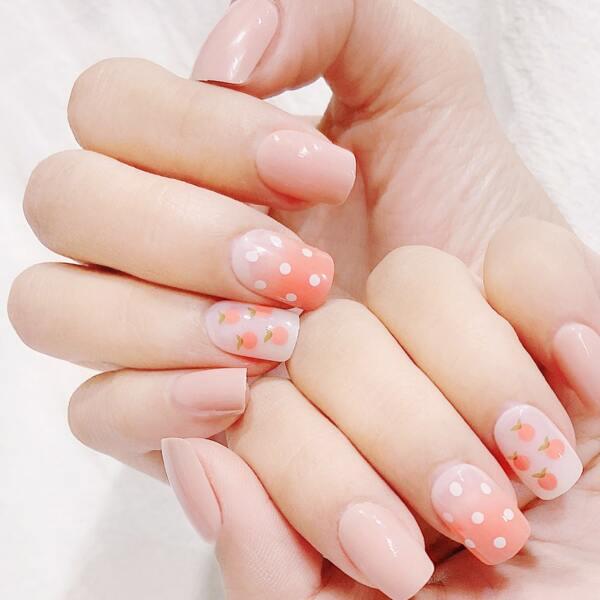20pcs Polka Dot Fake Nail & 1sheet Tape & 1pc Nail File, Watermelon pink