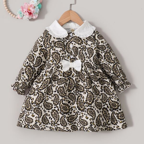 Toddler Girls Paisley Print Frilled Peter-pan Collar Flounce Sleeve Bow Dress, Multicolor