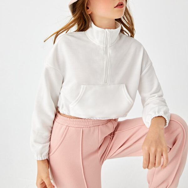 Girls Stand Collar Drop Shoulder Sweatshirt, White