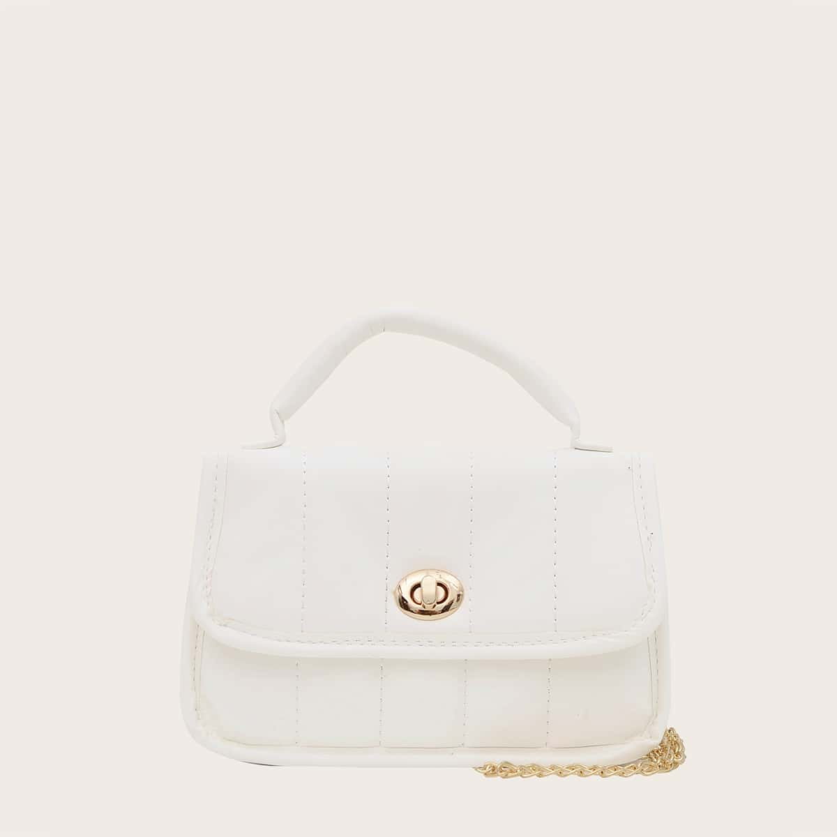 Стеганая сумка-сэтчел на цепочке для девочек