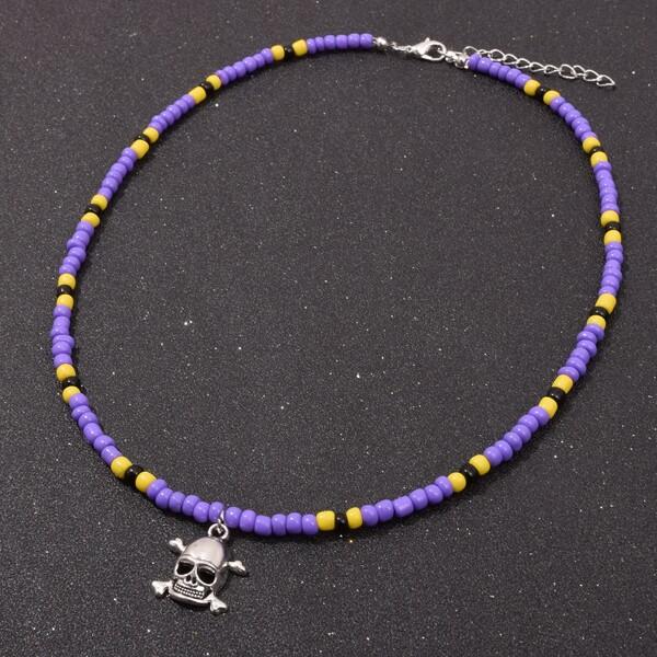 Men Halloween Skull Charm Beaded Necklace, Multicolor