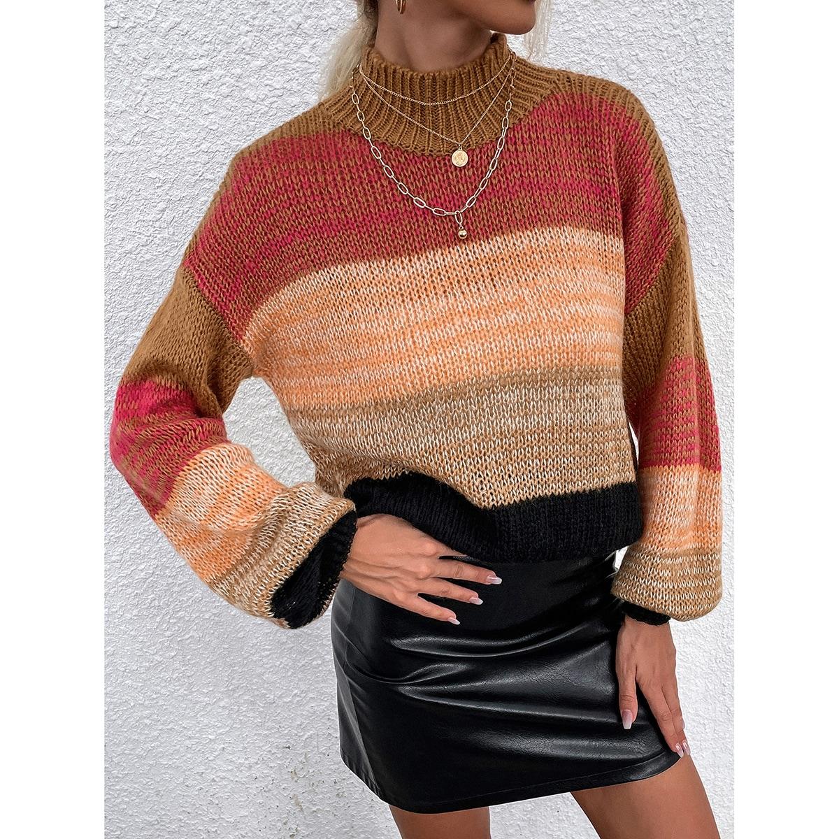Colorblock Drop Shoulder High Neck Sweater