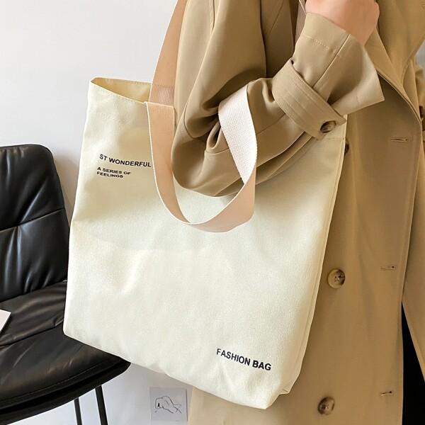 Letter Graphic Large Capacity Shopper Bag, Beige