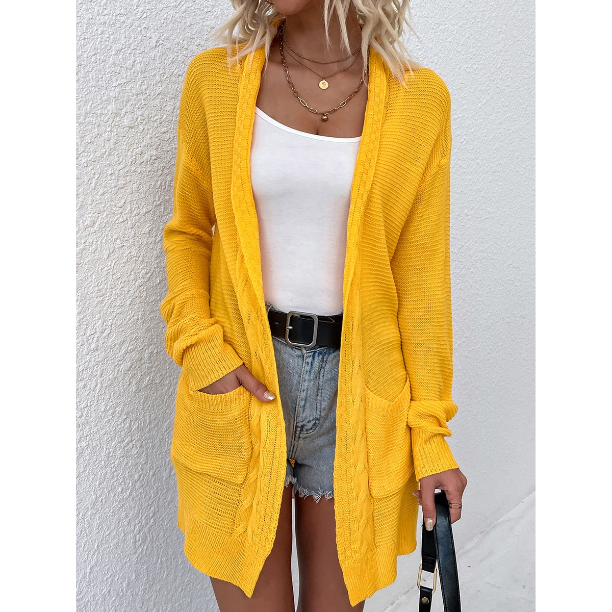 Shawl Collar Dual Pocket Drop Shoulder Open Front Cardigan, SHEIN  - buy with discount