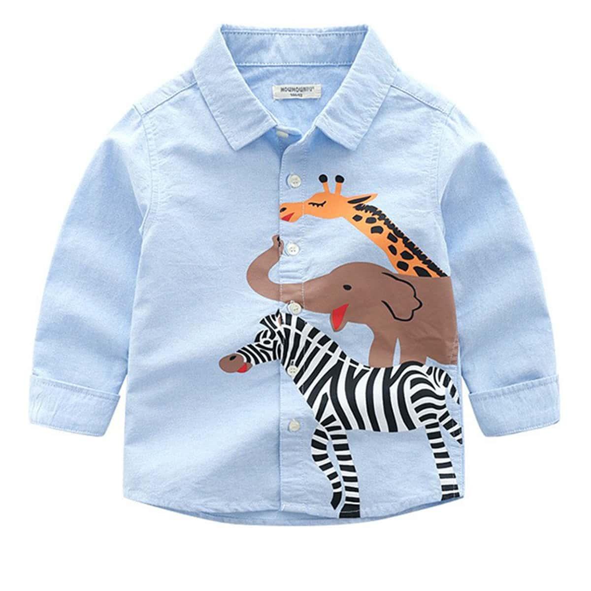 для мальчиков Рубашка с животным принтом