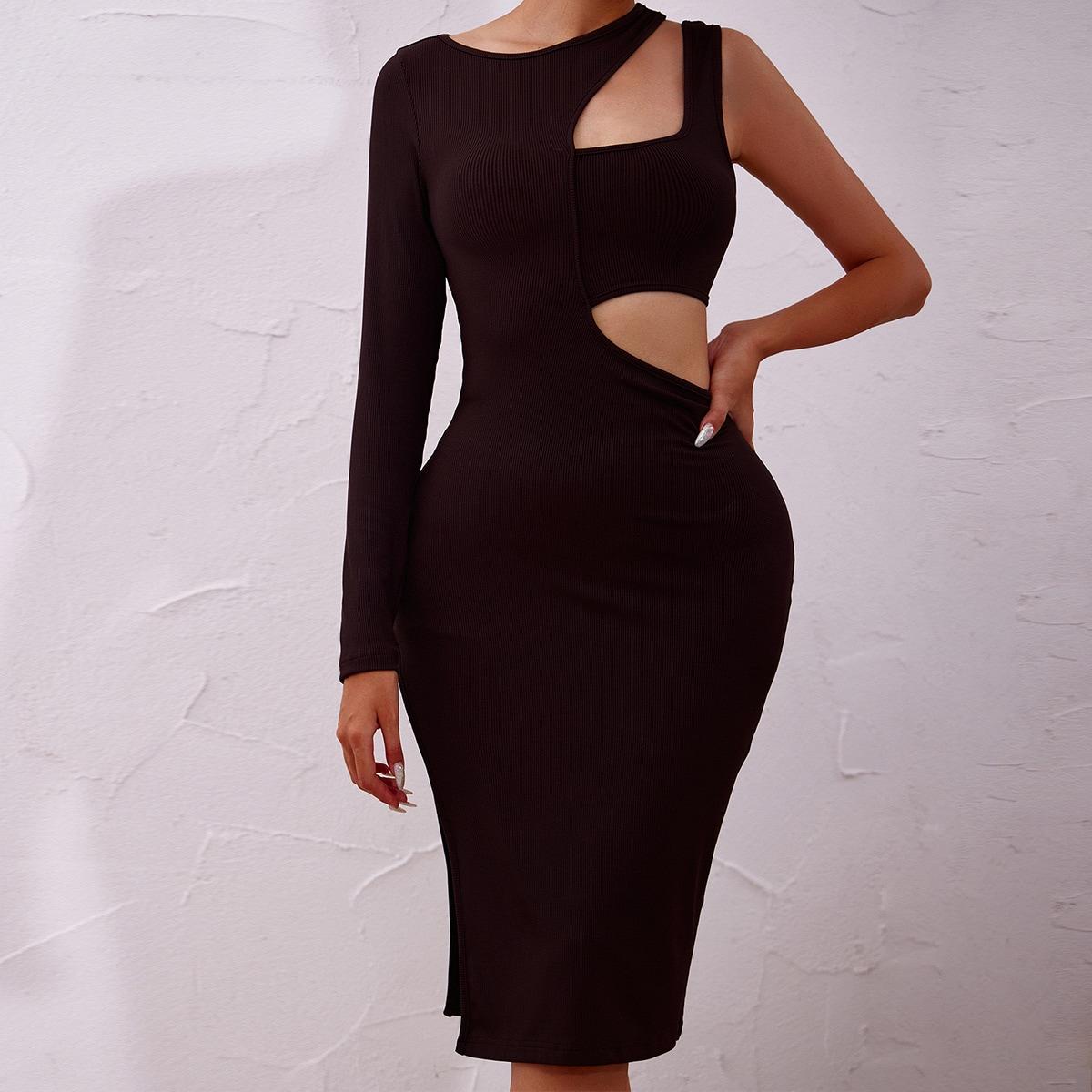 Cut Out Asymmetrical Neck Slit Thigh Bodycon Dress