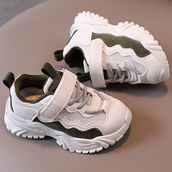 Toddler Boys Two Tone Velcro Strap Sneakers, White