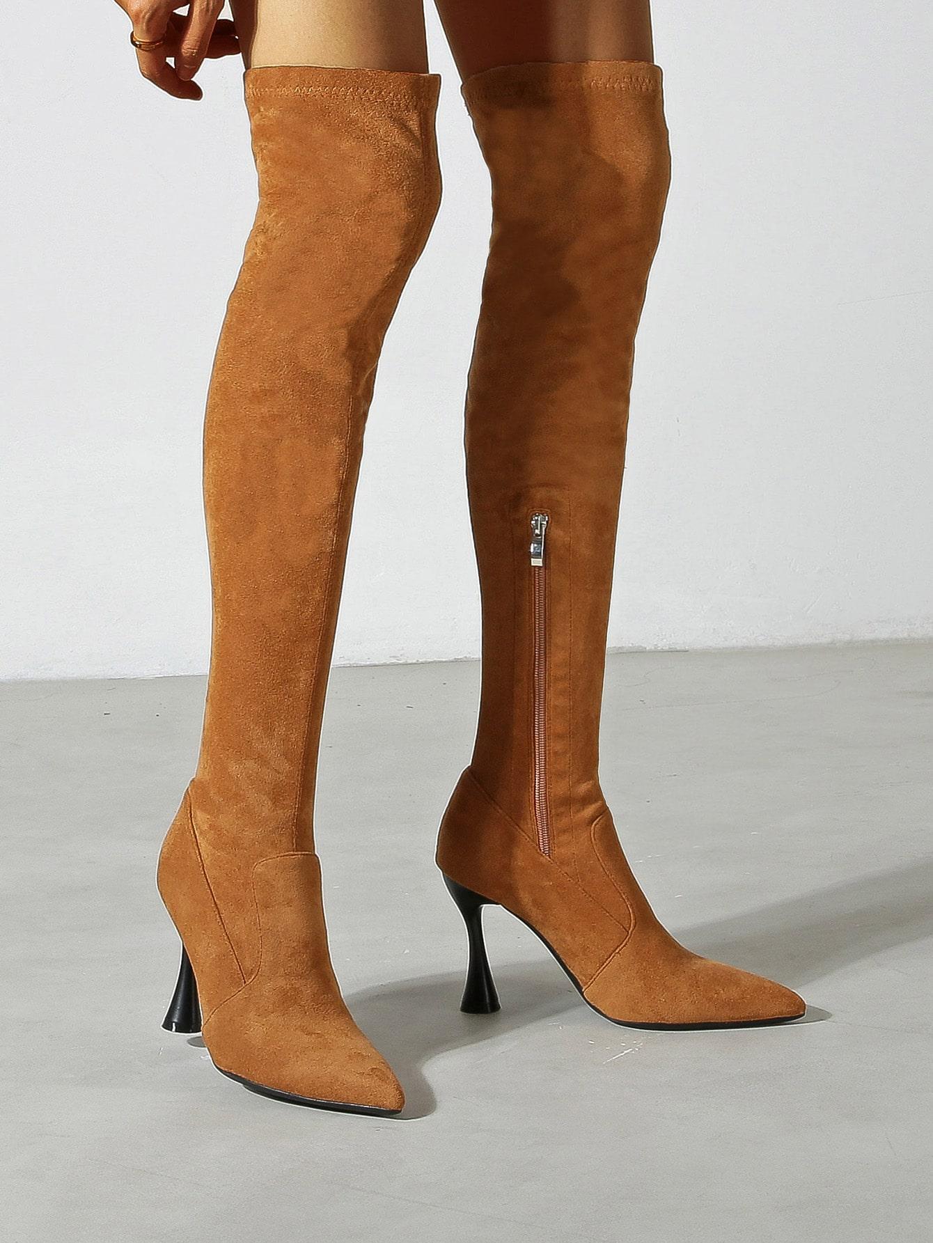 Suede Side Zipper Stiletto Heeled Point Toe Sock Boots
