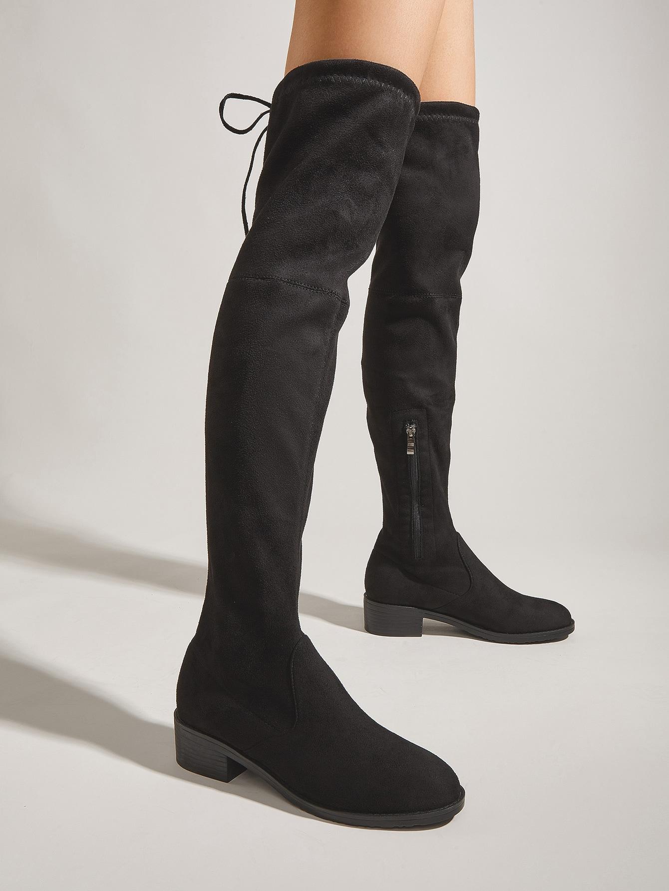 Minimalist Suede Side Zip Long Boots