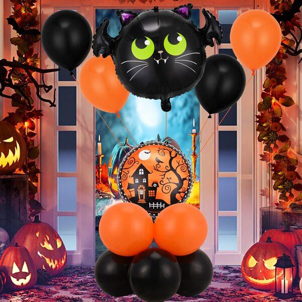 12pcs Halloween Pattern Decorative Balloon, Multicolor