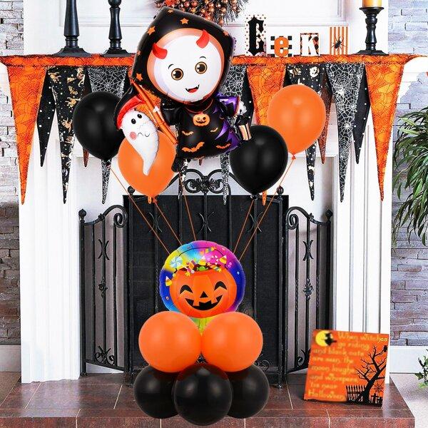 12pcs Halloween Ghost Shaped Decorative Balloon, Multicolor
