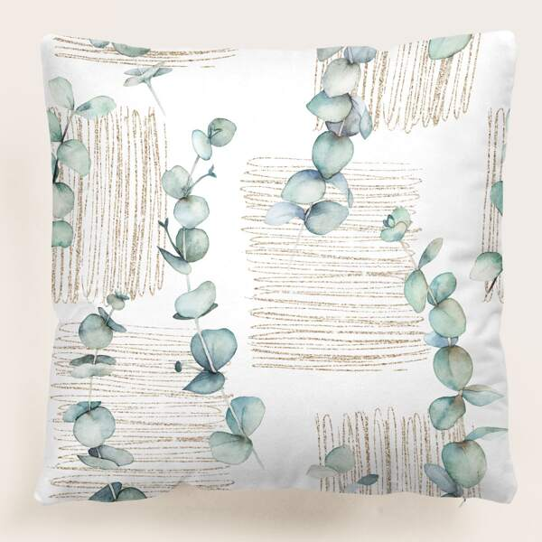 Leaf Print Cushion Cover Without Filler, Multicolor