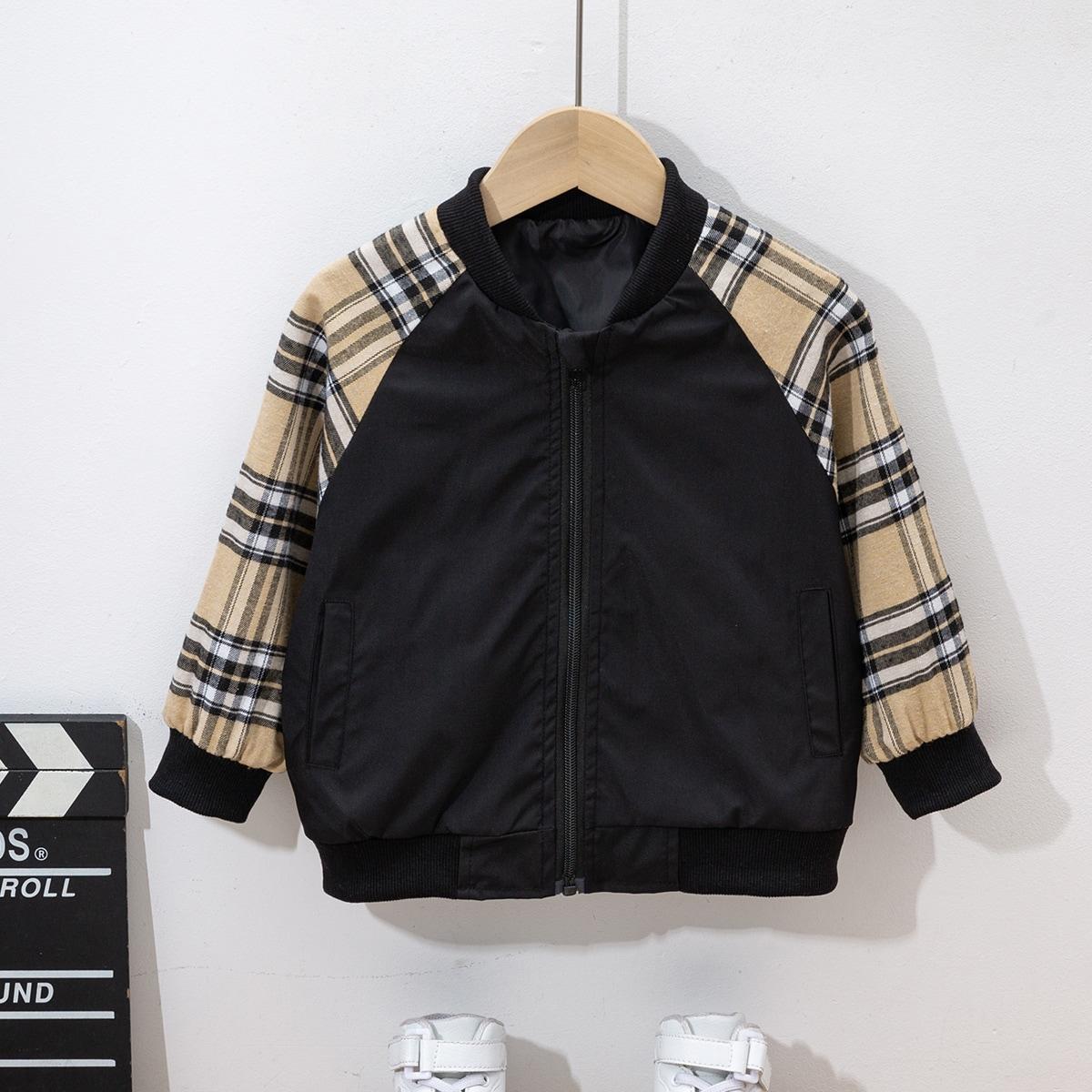 Toddler Girls Plaid Raglan Sleeve Zipper Bomber Jacket, SHEIN  - buy with discount