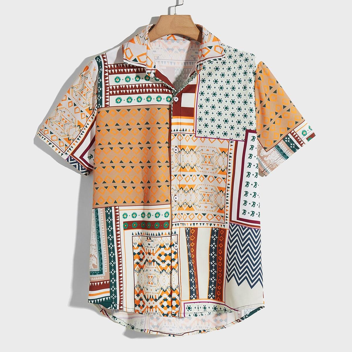 Мужская рубашка с геометрическим узором на пуговицах