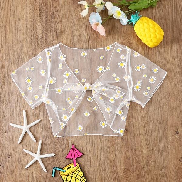 Girls Daisy Floral Knot Front Mesh Kimono, Multicolor