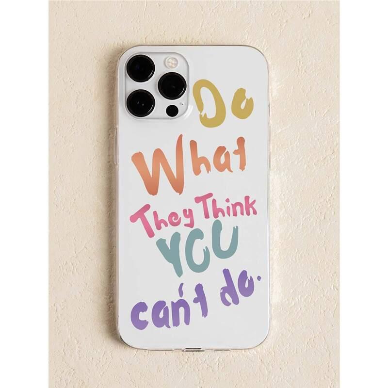 Slogan Graphic Phone Case, Multicolor