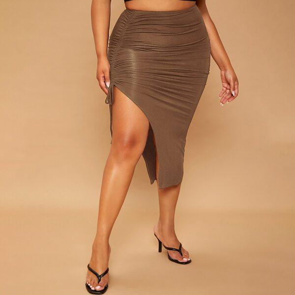 Plus Drawstring Side Split Thigh Skirt, Mocha brown