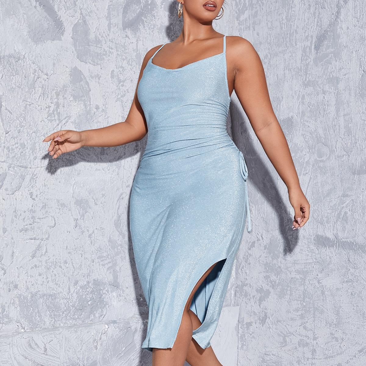 размера плюс Блестящее платье с открытой спиной высоким разрезом