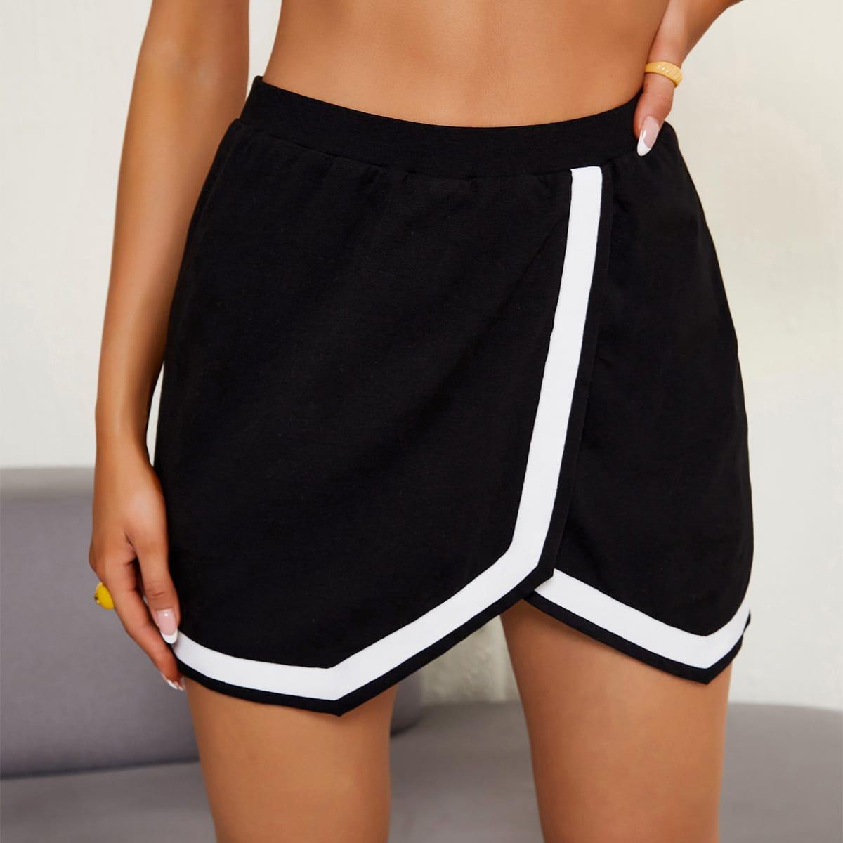 Falda de color combinado de cintura elástica asimétrico