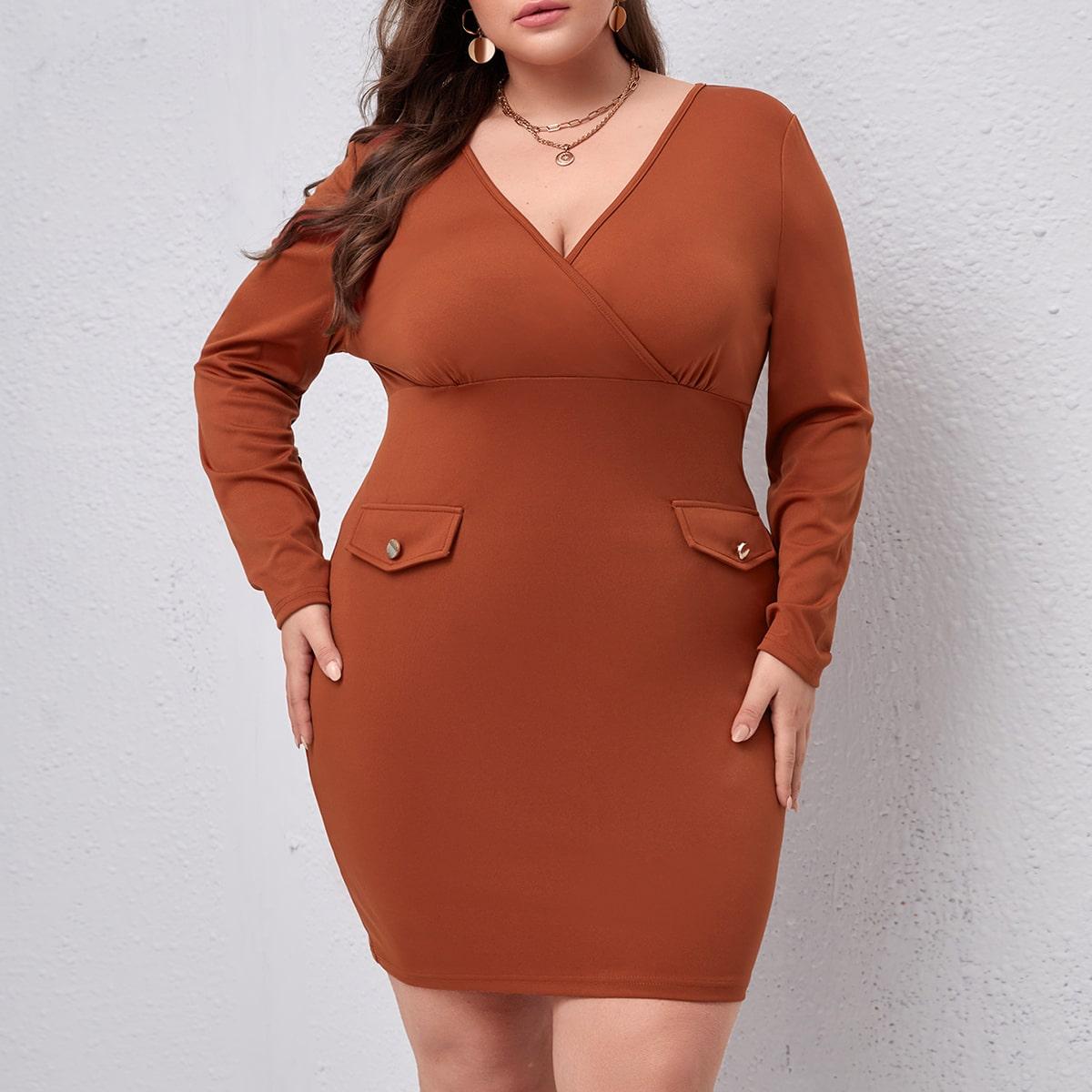 Plus Surplice Neck Flap Detail Bodycon Dress