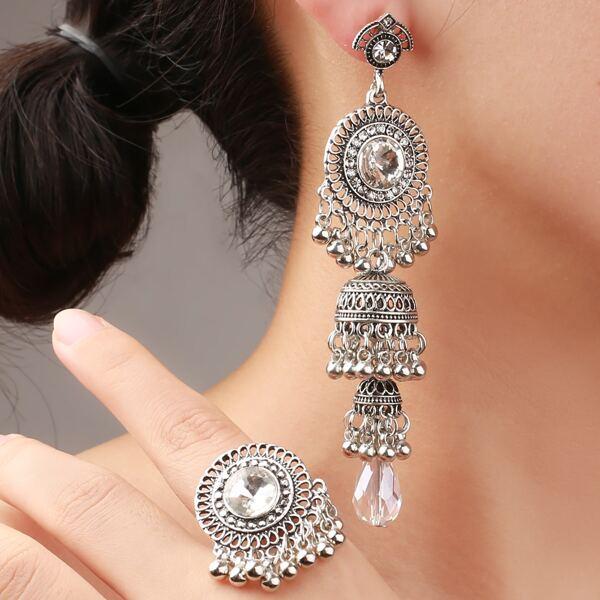 Jhumka Drop Earrings & Ring, Antique silver