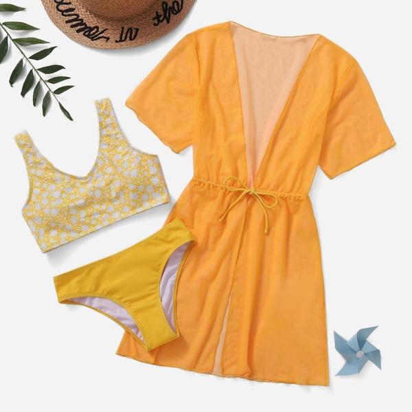 3pack Girls Floral Print Bikini Swimsuit & Kimono, Yellow