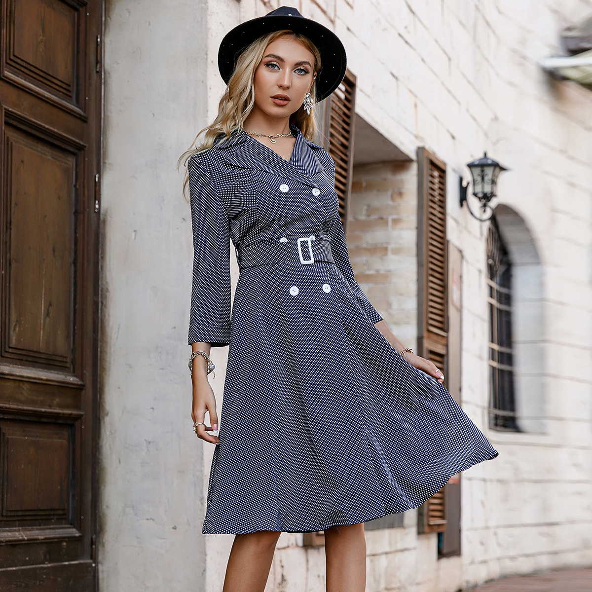 Polka Dot Double Breasted Buckled Belted Blazer Dress